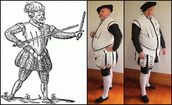 Elizabethan man's outfit of hose, doublet, and jack (2013)