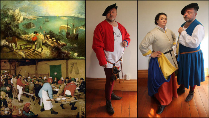 Bruegel man's coat and shirt (2013) / Bruegel woman's coat (2012) & man's outfit (2013)